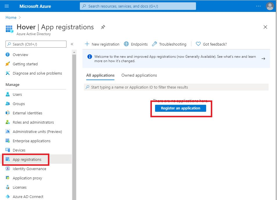 Register WebApp in Azure AD portal Step 1